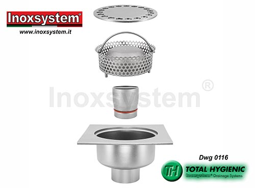 Inoxsystem® Total Hygienic standard and low profile floor drains with both removable vertical outlet pipe and filter basket LINE 0116