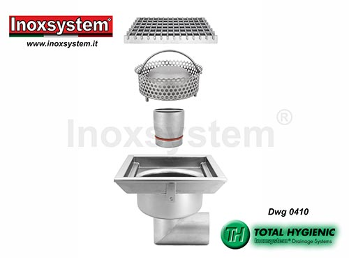 Inoxsystem® Total Hygienic standard and low profile floor drains with grating, horizontal outlet and removable outlet and filter basket LINE 0410
