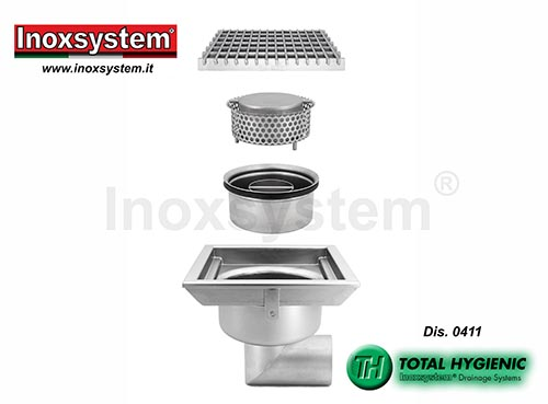 Inoxsystem® Total Hygienic standard and low profile floor drains with grating, horizontal outlet and removable cup shaped odor trap and filter basket LINE 0411