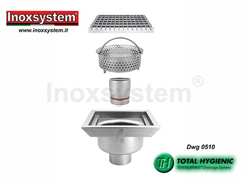 Inoxsystem® Total Hygienic standard and low profile floor drains with grating, vertical outlet and removable outlet and filter basket LINE 0510