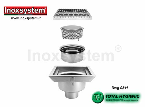 Inoxsystem® Total Hygienic standard and low profile floor drains with grating, horizontal outlet and removable outlet and filter basket LINE 0511