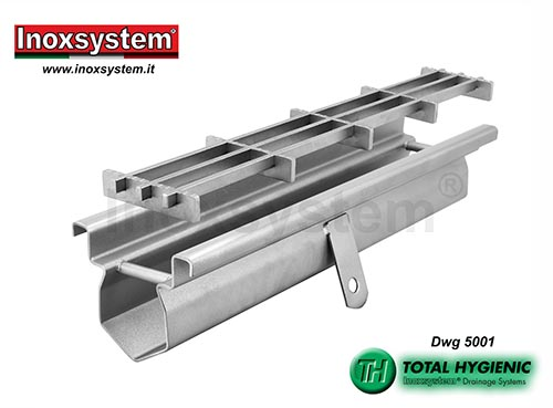 Inoxsystem® Total Hygienic drainage channel with satin-finished visible edges and multi-slot grating LINE 5001