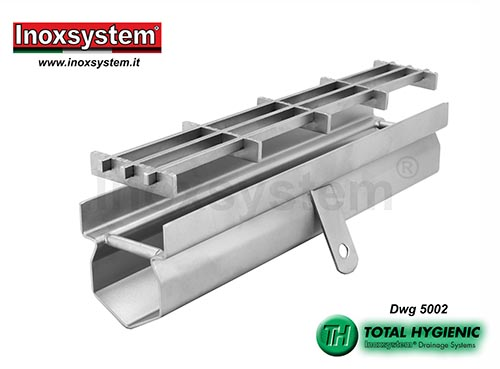 Hygienic drainage channel, vertical edges and multi-slot grating in stainless steel