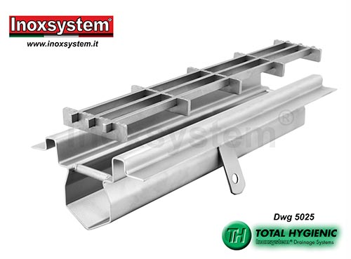 Hygienic drainage channel perimeter flange for waterproofing attachment in stainless steel