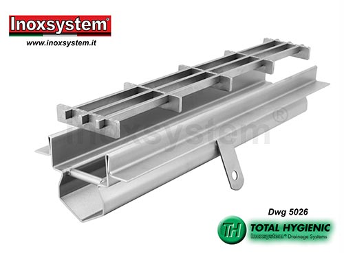Inoxsystem® Total Hygienic drainage channel with vertical rounded edges, perimeter flange for waterproofing attachment and multi-slot grating LINE 5026