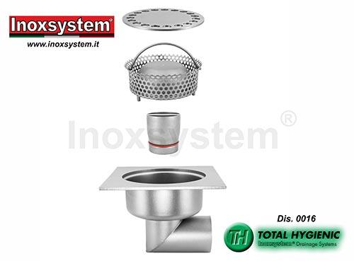 Sumideros sifónicos Hygienic y tubo de salida y cestillo extraibles en acero inoxidable