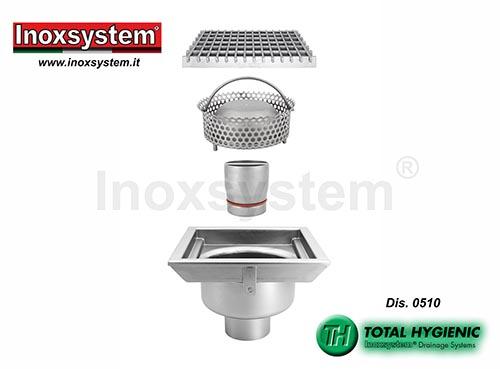 Sumideros Hygienic con rejilla, salida vertical y cestillo extraibles en acero inoxidable