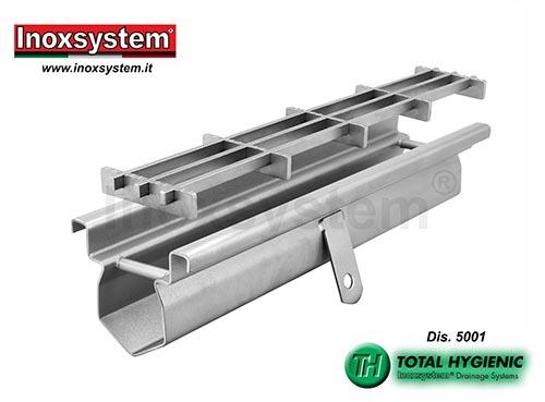 Canal de drenaje estándar Inoxsystem® Total Hygienic con marco satinado y rejilla multi-slot en acero inoxidable