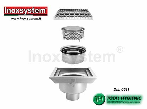 Siphons sol Hygienic grille à sortie verticale, garde d'eau et panier amovibles en acier inoxydable