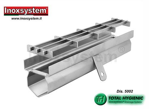 Caniveau de drainage bords droits verticaux, grille multi-slot en acier inoxydable