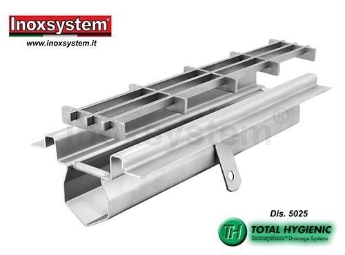 Caniveau de drainage bords satinés visibles, platine d' étanchéité et grille multi-slot en acier inoxydable
