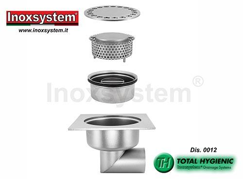 Chiusini in piastra Total Hygienic ribassati scarico orizzontale acciaio inox
