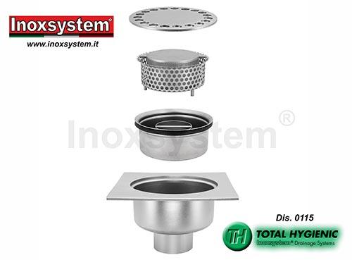 Chiusini in piastra ribassati a scarico verticale con tazza sifonata e cestello estraibili in acciaio inox