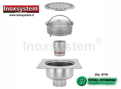 Chiusini in acciaio inox ribassati a scarico verticale con tubo sifonato e cestello estraibili in acciaio inox