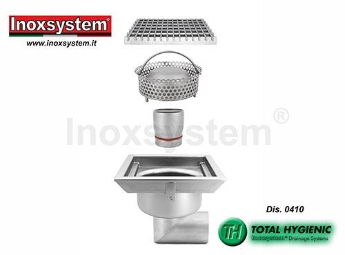Chiusini a griglia Total Hygienic ribassati scarico orizzontale acciaio inox