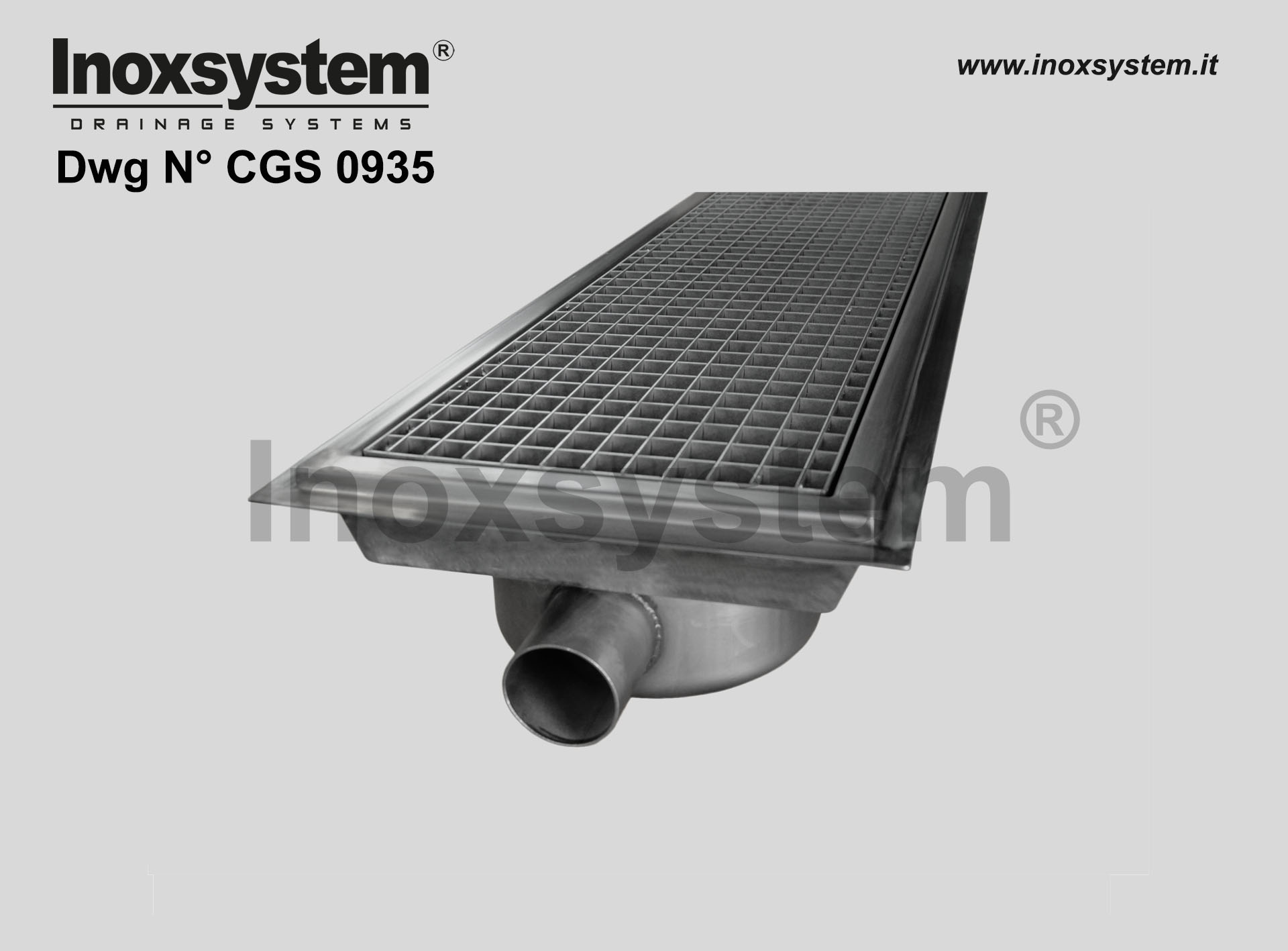 Art. CGS 0925 Waterproof membrane holder for channels with grating DRAWING 0925